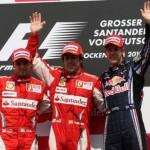 Il podio del GP di Germania 2010, con un Felipe Massa rabbuiato.