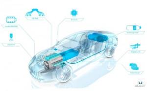 """I componenti principali della """"trasformazione Alset Global"""" ad idrogeno dell'Aston Martin Rapid S."""