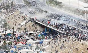 Le proteste anti-governative del 2012 attorno all'autodromo del Bahrain.