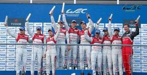 Il podio tutto Audi alla Sei Ore di Spa, seconda prova del Mondiale Endurance 2013.