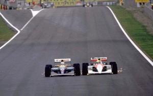 GP di Spagna 1991: il vincitore Nigel Mansel (Williams) in lotta con Ayrton Senna (McLaren).