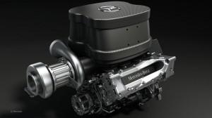 Il V6 di 1.6 litri turbo della Mercedes per la stagione 2014.