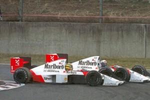 Gp del Giappone del 1989, il contatto tra Senna e Prost.