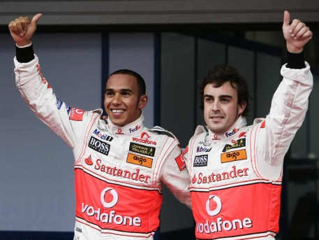 Lewis Hamilton e Fernando Alonso compagni di squadra alla McLaren 2007