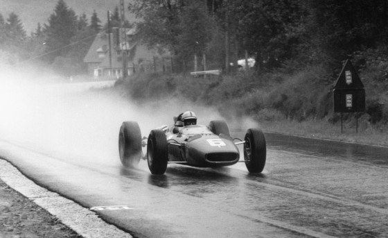 29th May 1966: British racing driver John Surtees wins the 1966 Belgian Grand Prix in his works-entered V12 Ferrari. (Photo by Victor Blackman/Express/Getty Images)