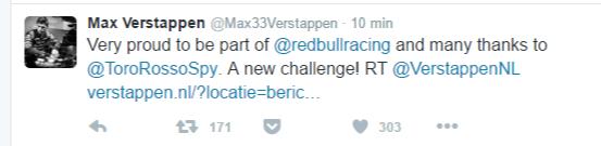 Il tweet di Max Verstappen