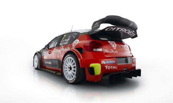 Il vistoso posteriore della Citroen C3 WRC che debutta al Rallye di Monte Carlo 2017