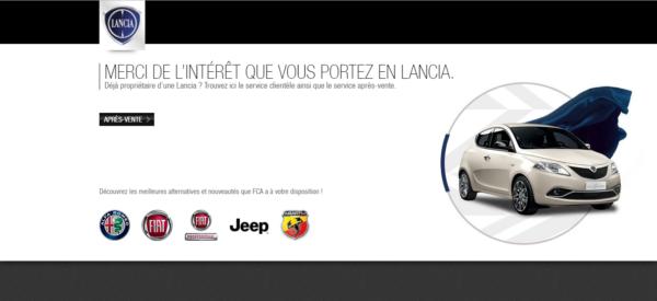 Homepage sito belga di Lancia