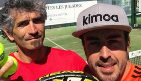 GP Spagna Fernando Alonso al tennis